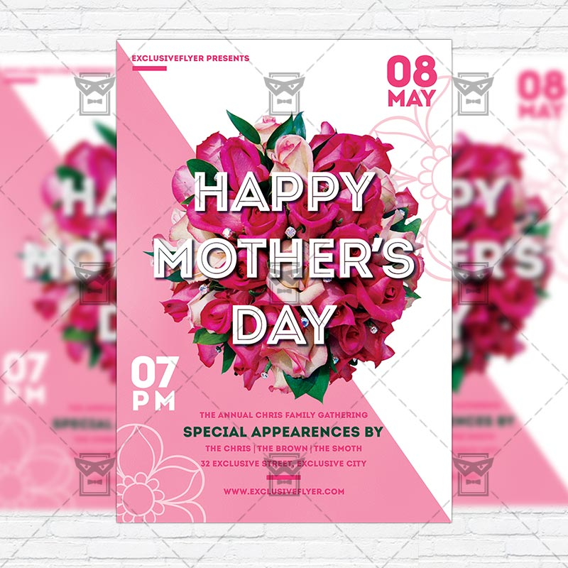 Mother\u0027s Day \u2013 Premium Flyer Template + Instagram Size Flyer - mothers day flyer