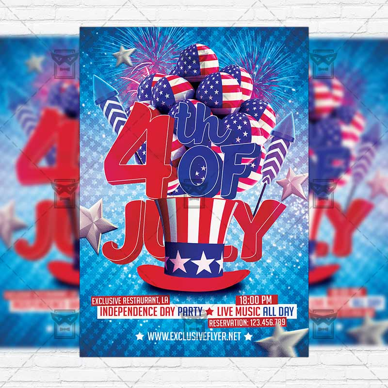 Independence Day Party \u2013 Premium Flyer Template + Instagram Size - independence day flyer