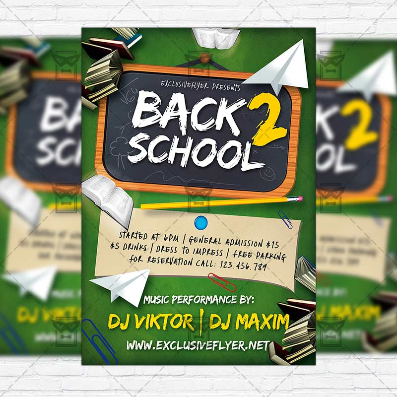 Back 2 School \u2013 Premium Flyer Template + Instagram Size Flyer - back to school flyers