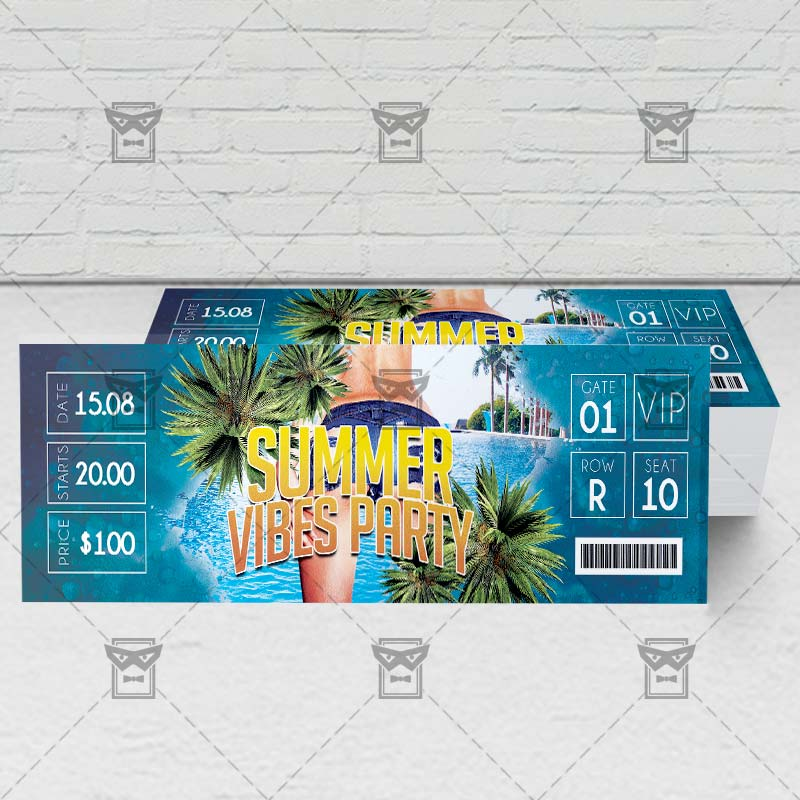 Summer Vibes Party \u2013 Premium PSD Ticket Template ExclsiveFlyer - party ticket template free