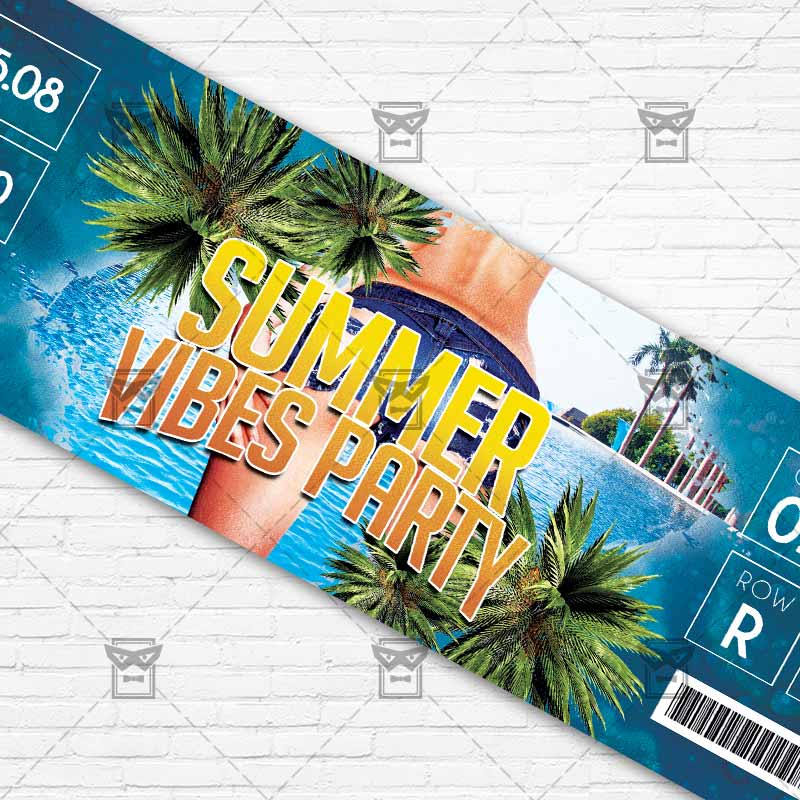 Summer Vibes Party \u2013 Premium PSD Ticket Template ExclsiveFlyer - party ticket template