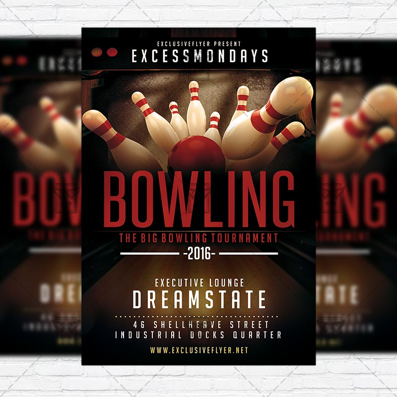 The Big Bowling \u2013 Premium Flyer Template + Instagram Size Flyer