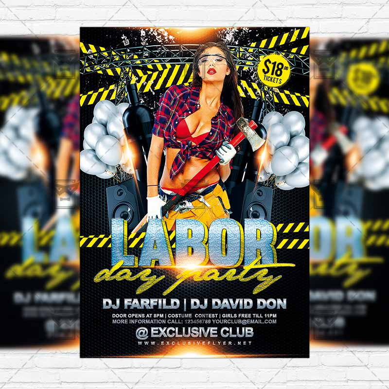 Labor Day Party \u2013 Premium Flyer Template + Instagram Size Flyer - labour day flyer template