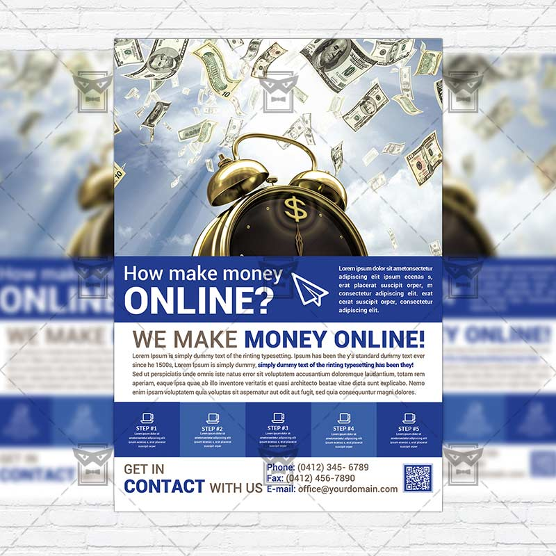 Make Money Online \u2013 Premium PSD Business Flyer Template - how to make online flyers