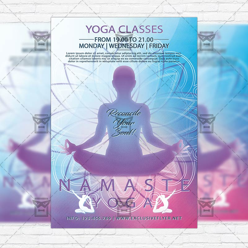 Yoga Classes \u2013 Premium Flyer Template + Instagram Size Flyer - yoga flyer