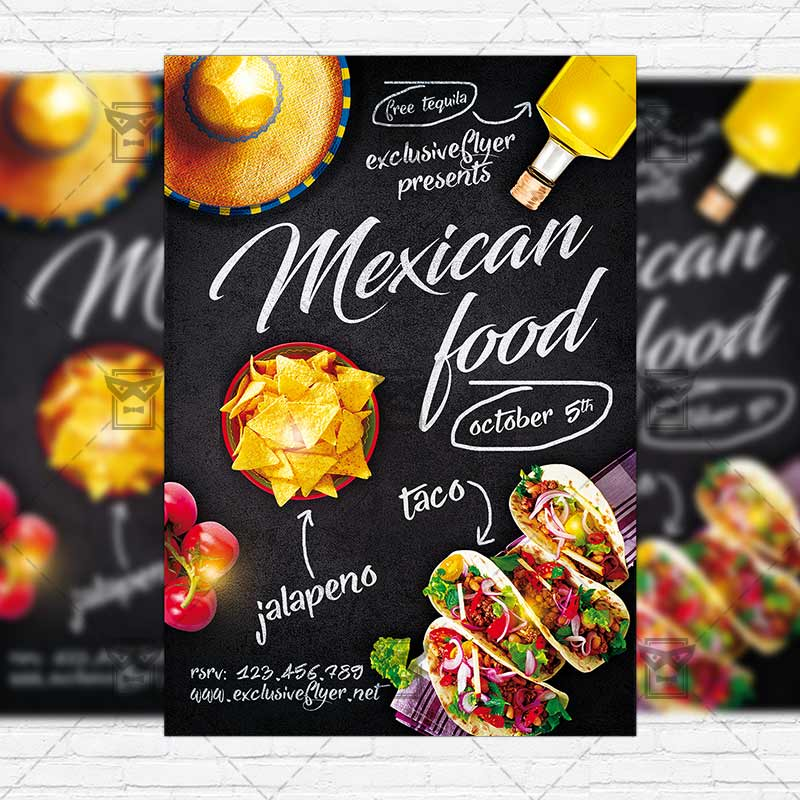 Mexican Food \u2013 Premium Flyer Template + Instagram Size Flyer - food flyer template