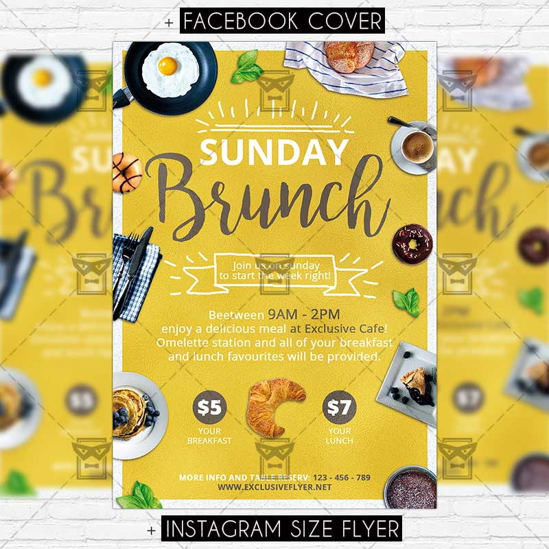 brunch template - Ozilalmanoof - luncheon flyer template
