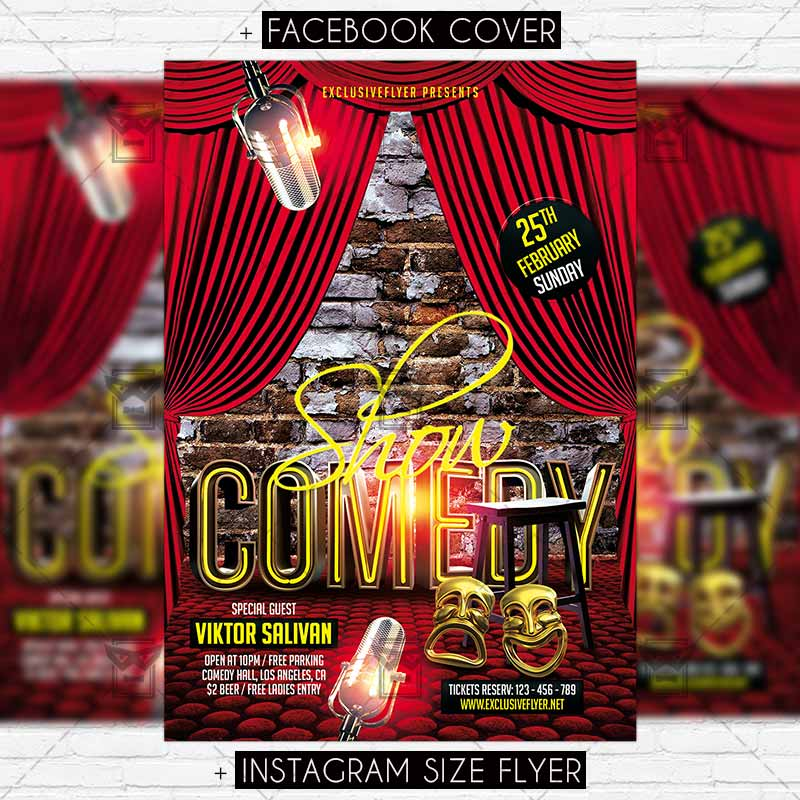 Comedy Show \u2013 Premium Flyer Template ExclsiveFlyer Free and