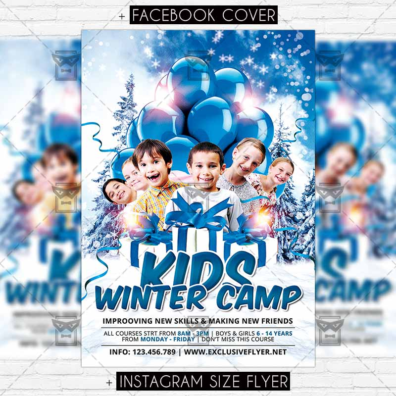 Winter Kids Camp \u2013 Premium Flyer Template ExclsiveFlyer Free and