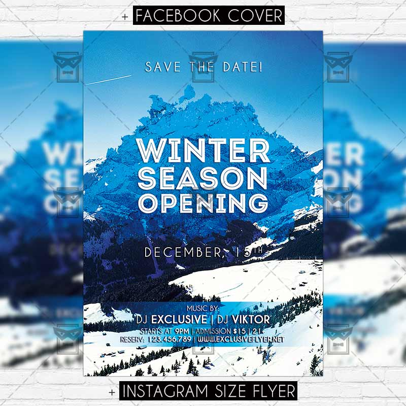 Winter Season Opening \u2013 Premium Flyer Template ExclsiveFlyer