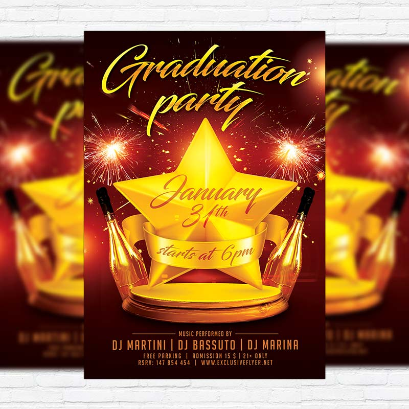 Graduation Party \u2013 Free Club and Party Flyer PSD Template