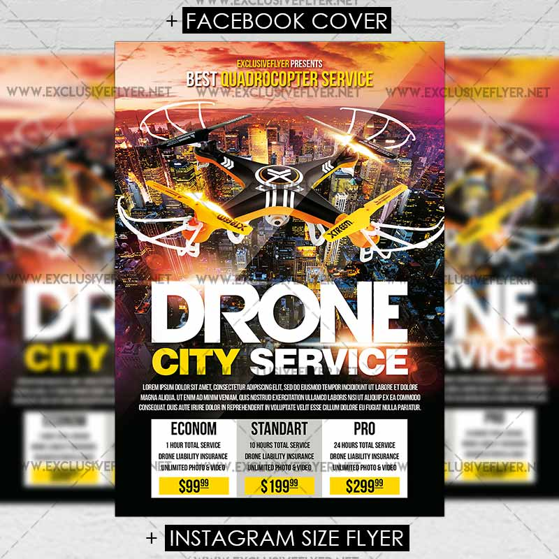 Drone City Service \u2013 Premium Flyer Template ExclsiveFlyer Free