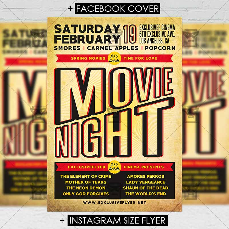 Movie Night \u2013 Premium Flyer Template ExclsiveFlyer Free and
