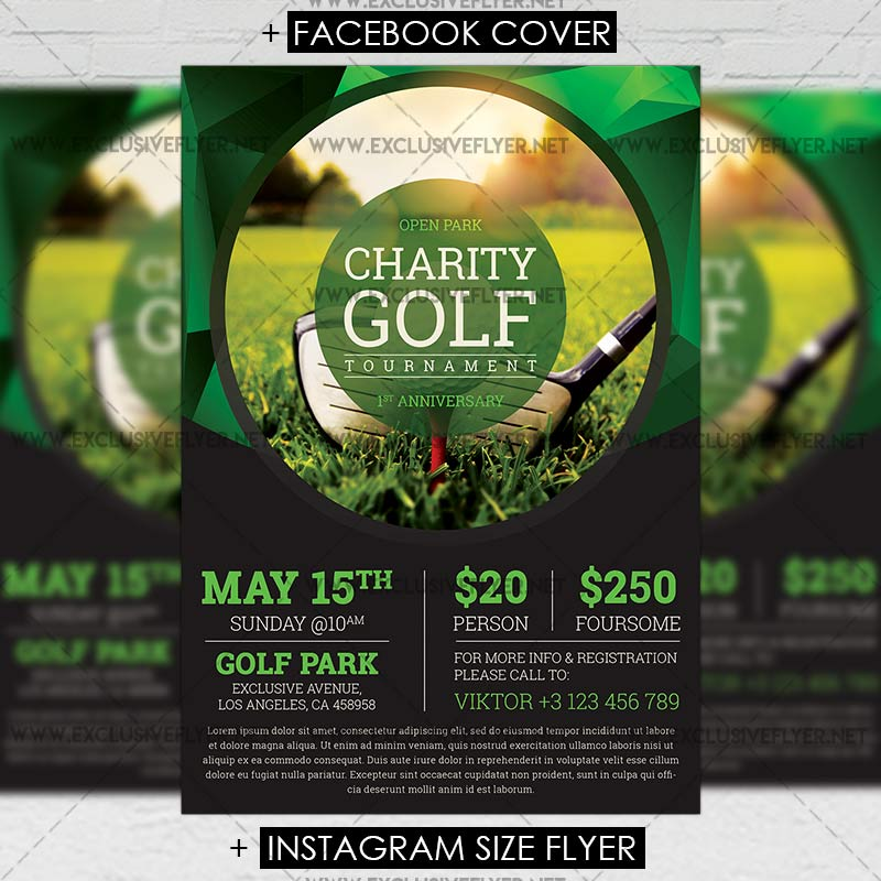 Golf Tournament \u2013 Premium A5 Flyer Template ExclsiveFlyer Free - golf tournament flyer template
