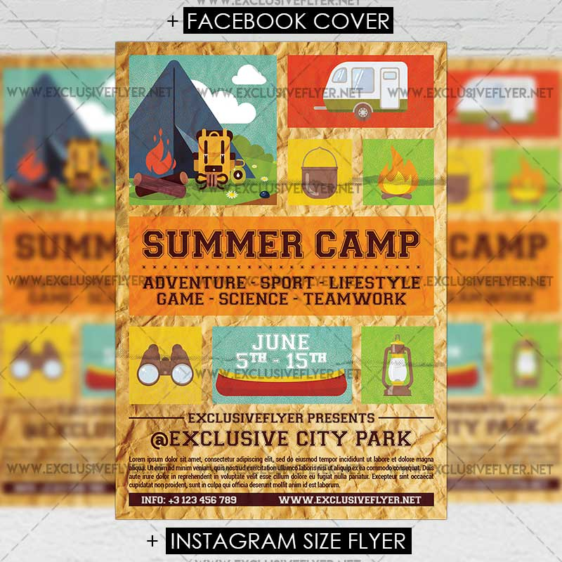 Summer Camp \u2013 Premium A5 Flyer Template ExclsiveFlyer Free and - Summer Camp Flyer Template