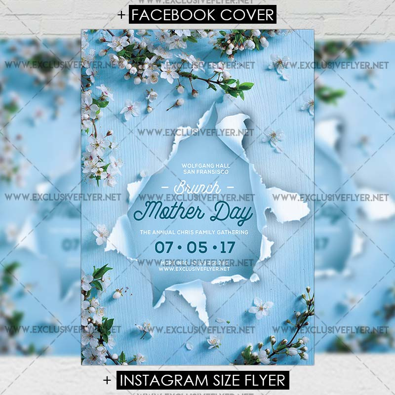 Mother Day Brunch \u2013 Premium A5 Flyer Template ExclsiveFlyer Free