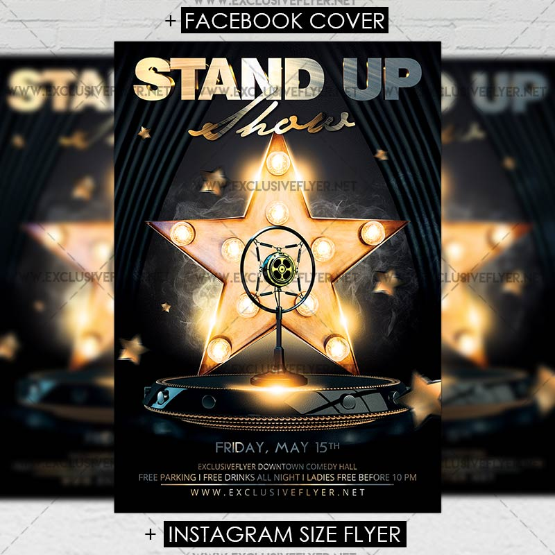 Stand Up Show u2013 Premium A5 Flyer Template ExclsiveFlyer Free - comedy show flyer template