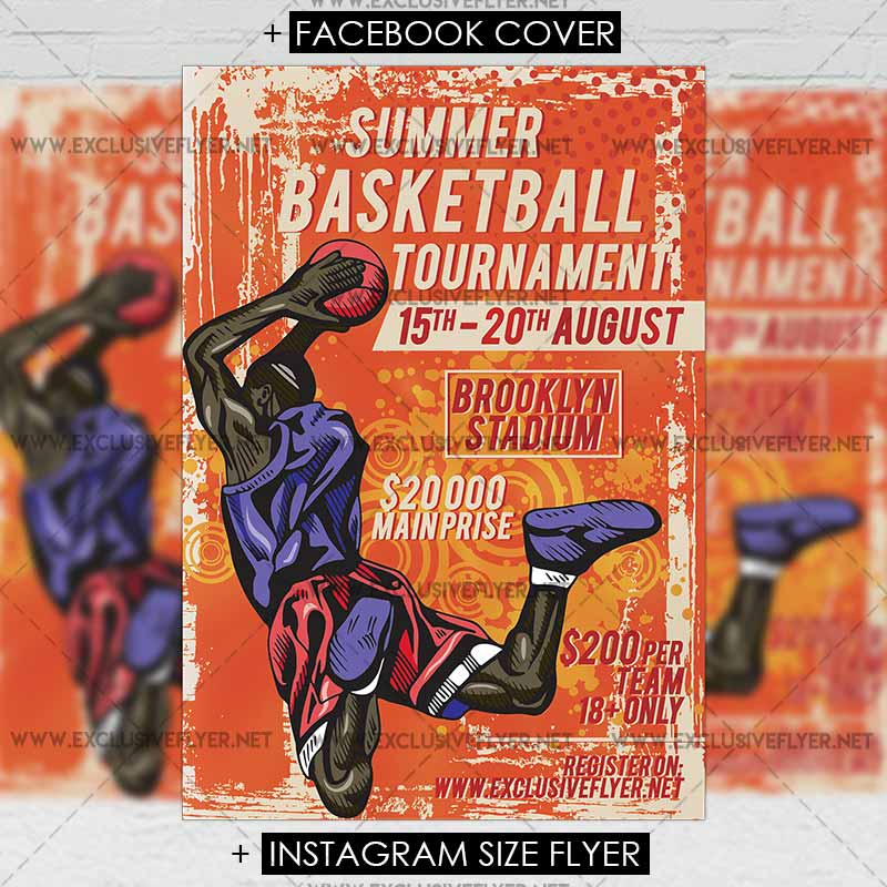 Summer Basketball Tournament \u2013 Premium A5 Flyer Template