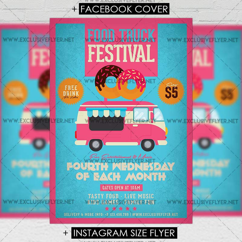 Food Truck Festival \u2013 Premium A5 Flyer Template ExclsiveFlyer
