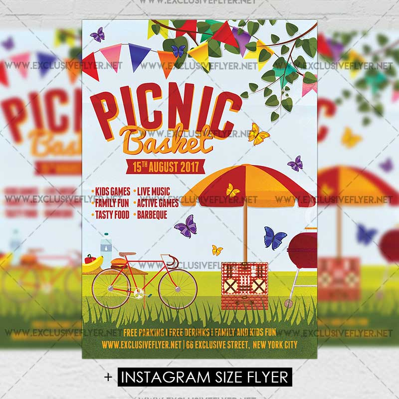 Picnic Basket \u2013 Premium A5 Flyer Template ExclsiveFlyer Free and