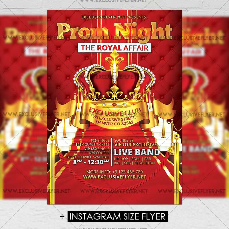 Prom Night Party U2013 Premium A5 Flyer Template Exclsiveflyer