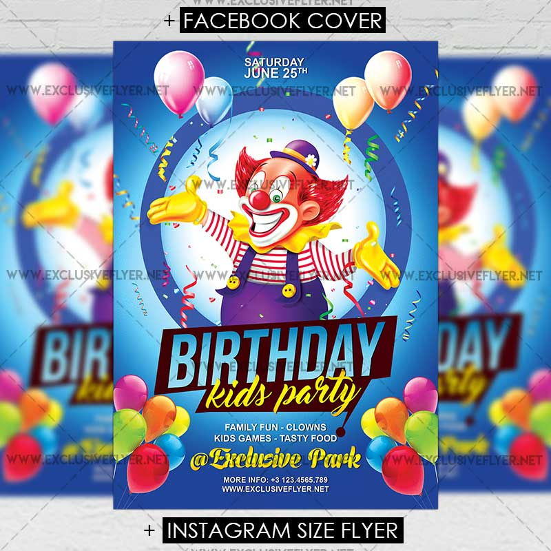 Kids Birthday \u2013 Premium A5 Flyer Template ExclsiveFlyer Free and