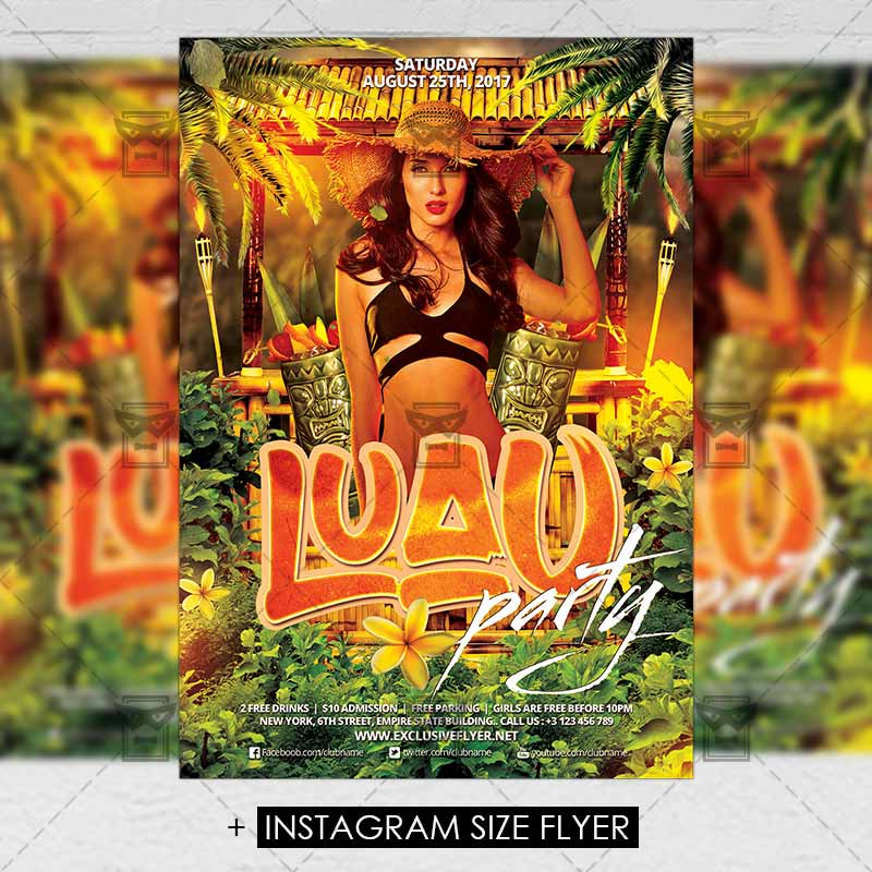 Luau Party \u2013 Premium A5 Flyer Template ExclsiveFlyer Free and