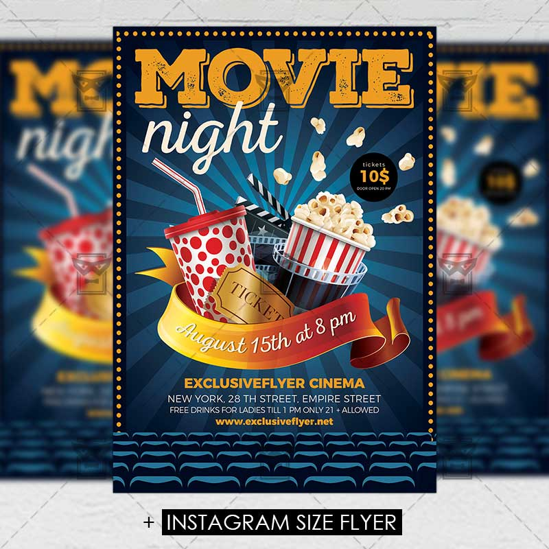 Movie Night \u2013 Premium A5 Flyer Template ExclsiveFlyer Free and