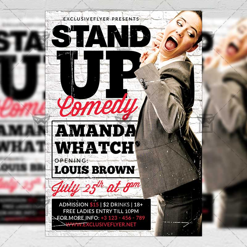 Stand Up Comedy u2013 Premium A5 Flyer Template ExclsiveFlyer Free - comedy show flyer template