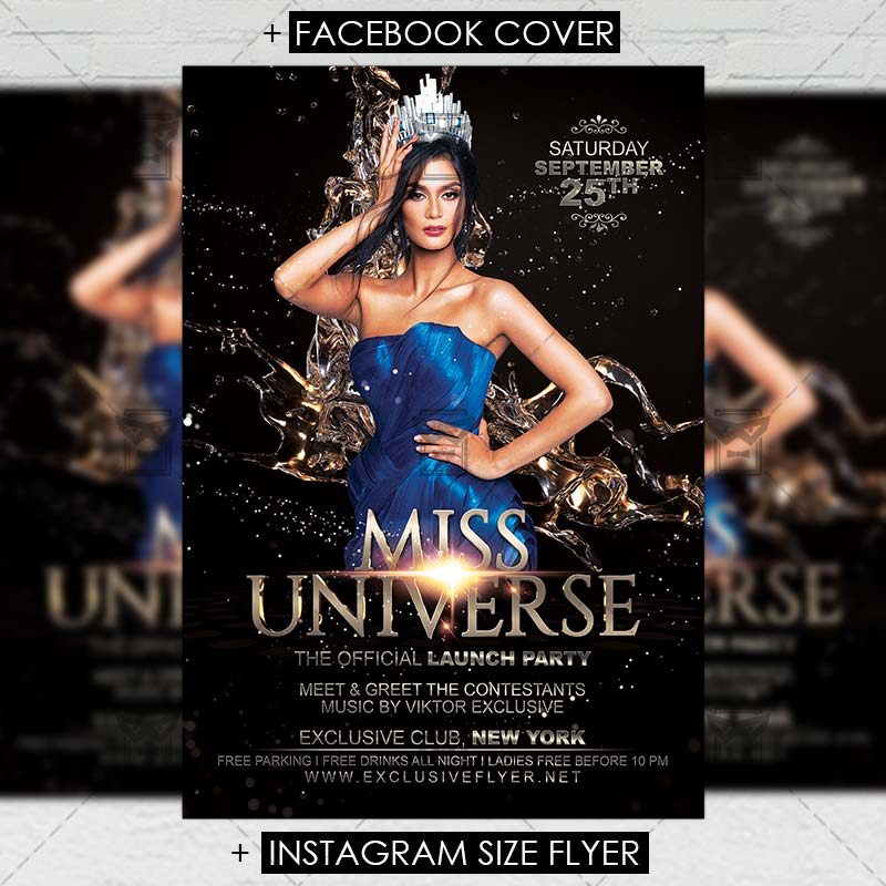 Miss Universe \u2013 Club A5 Flyer Template ExclsiveFlyer Free and