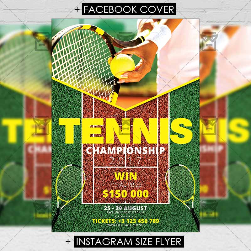 Tennis Championship \u2013 Sport A5 Flyer Template ExclsiveFlyer Free