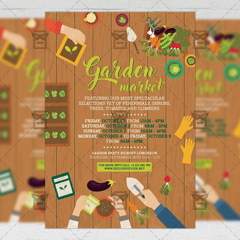 Garden Market \u2013 Community A5 Flyer Template ExclsiveFlyer Free - luncheon flyer template