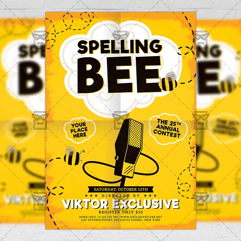 Spelling Bee Contest \u2013 School A5 Flyer Template ExclsiveFlyer