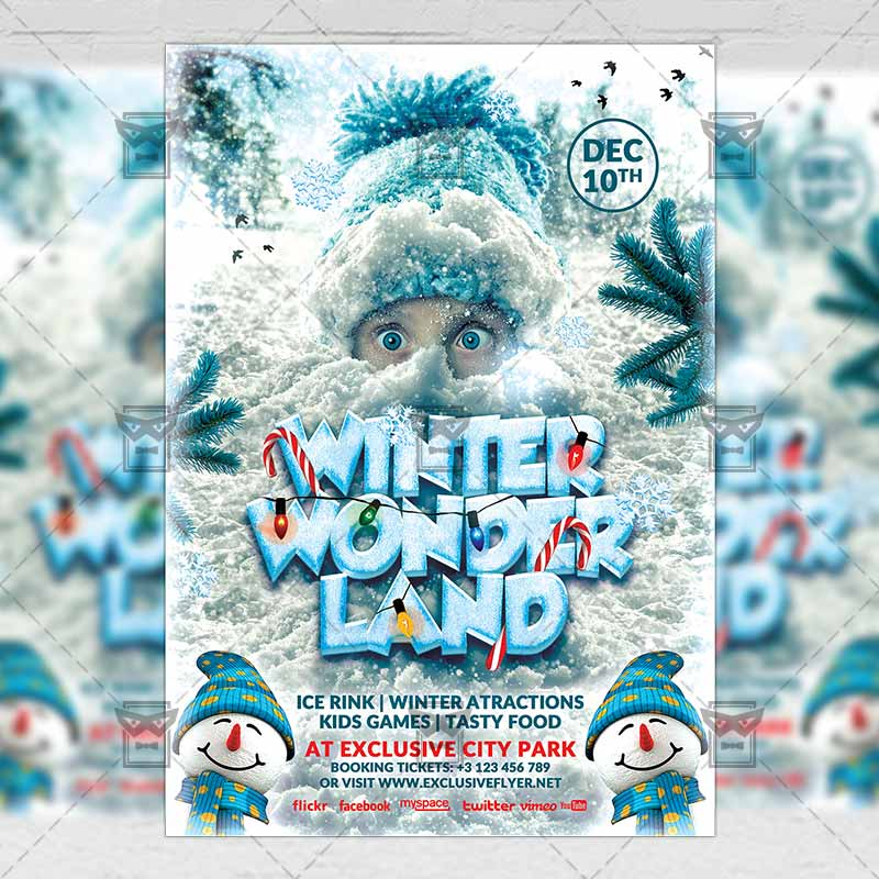Winter Wonderland \u2013 Seasonal A5 Flyer/Poster Template