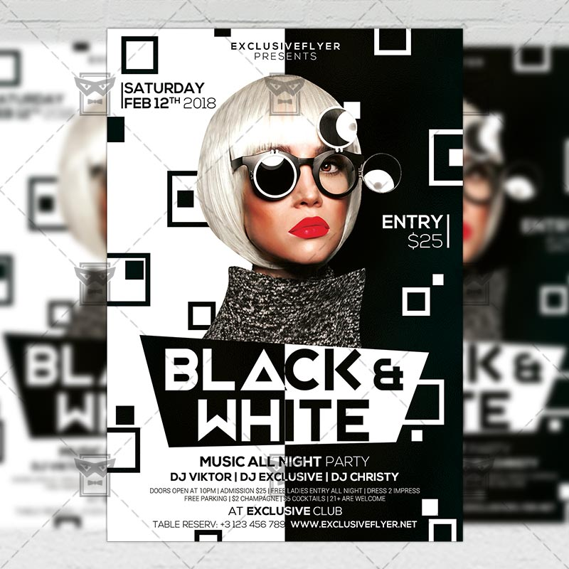 Black and White Party \u2013 Club A5 Flyer Template ExclsiveFlyer