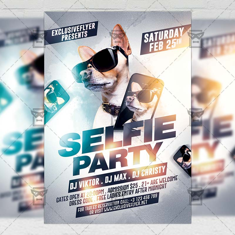 Selfie Party \u2013 Club A5 Flyer Template ExclsiveFlyer Free and