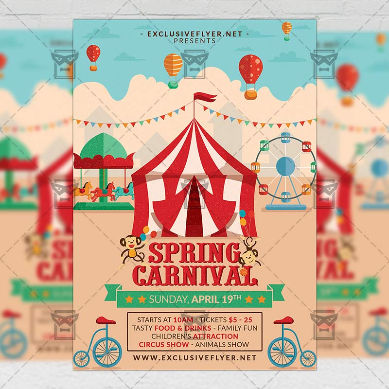 Spring Carnival \u2013 Seasonal A5 Flyer Template ExclsiveFlyer Free