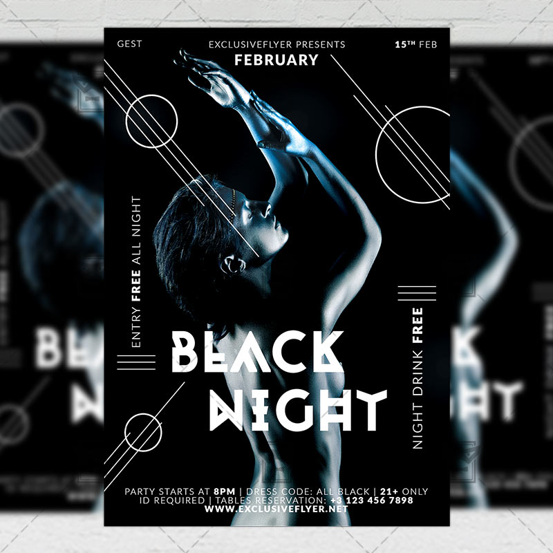 Black Night \u2013 Club A5 Flyer Template ExclsiveFlyer Free and