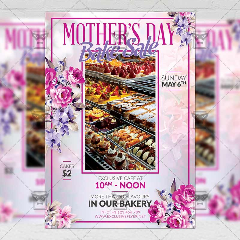 Mothers Day Bake Sale \u2013 Seasonal A5 Flyer Template ExclsiveFlyer - mothers day flyer