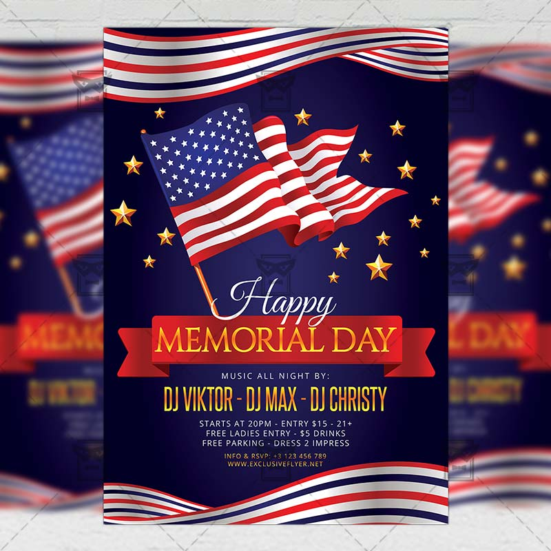 Memorial Day Flyer \u2013 Seasonal A5 Template ExclsiveFlyer Free and