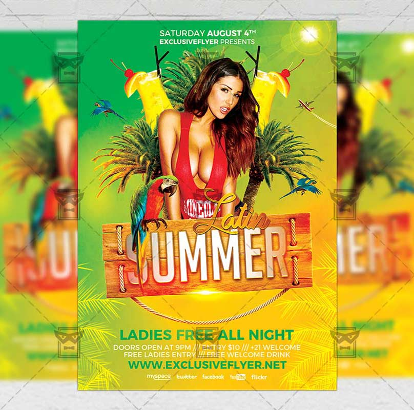 Latin Summer Flyer \u2013 Seasonal A5 Template ExclsiveFlyer Free and
