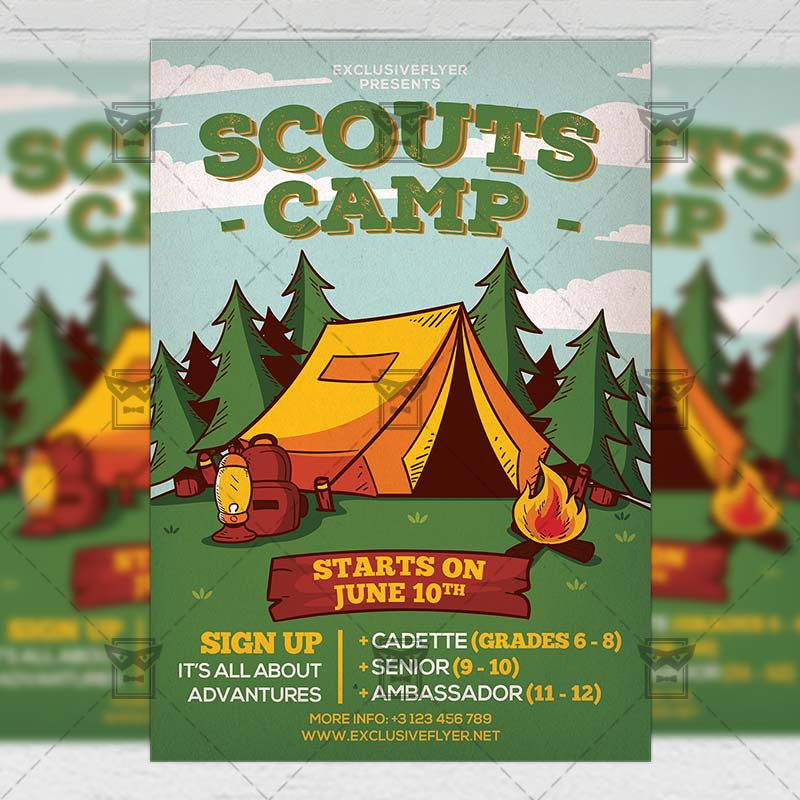 Scouts Camp Flyer \u2013 Community A5 Template ExclsiveFlyer Free and