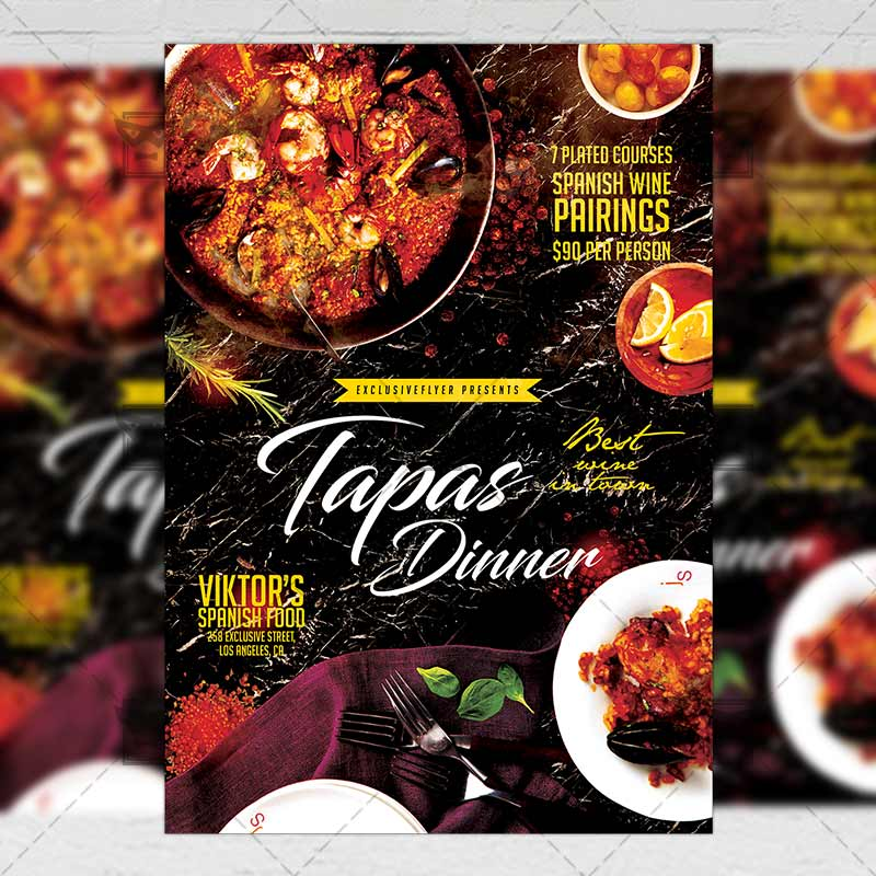 Tapas Dinner Flyer \u2013 Food A5 Template ExclsiveFlyer Free and