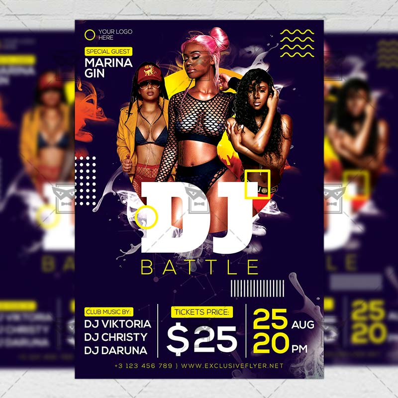 Dj Battle Party Flyer \u2013 Club A5 Template ExclsiveFlyer Free and