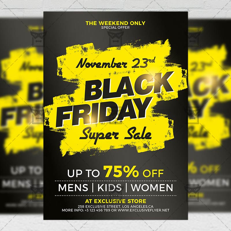 Black Friday Super Sale 2019 Flyer \u2013 Business A5 Template