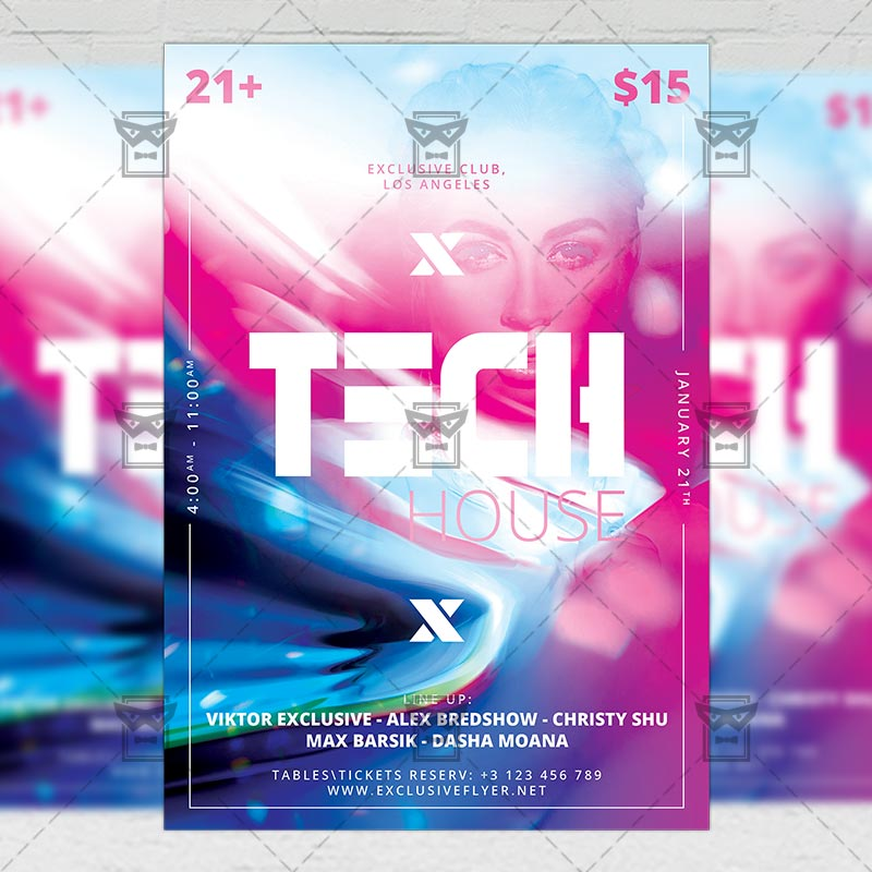 Tech House Party Flyer \u2013 Club A5 Template ExclsiveFlyer Free and
