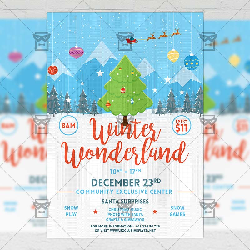 Winter Wonderland Flyer \u2013 Seasonal A5 Template ExclsiveFlyer