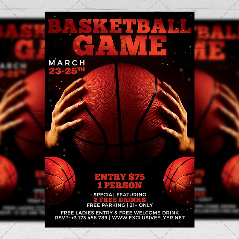 Basketball Game Night Flyer \u2013 Sport A5 Template ExclsiveFlyer