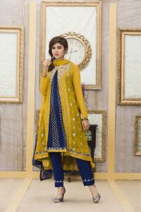 AN EXCLUSIVE YELLOW AND BLUE PARTY DRESS - Exclusive ...
