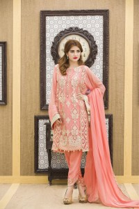 A PINK HAND TOUCHING EMBROIDERED PARTY DRESS - Exclusive ...